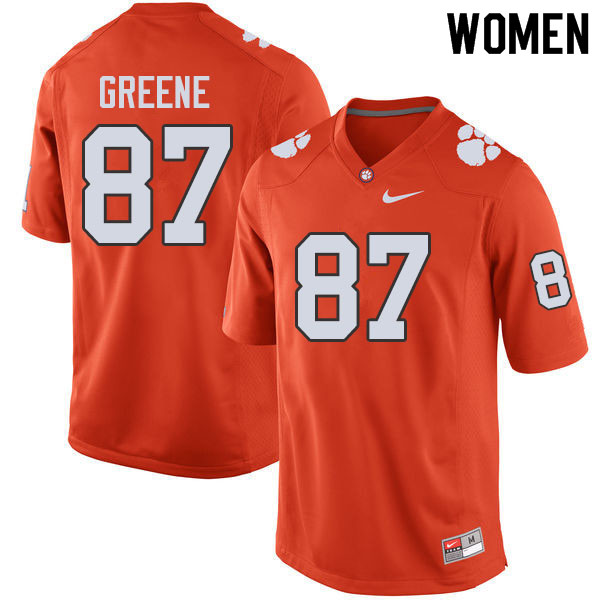 Women #87 Hamp Greene Clemson Tigers College Football Jerseys Sale-Orange
